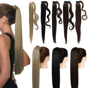 "24"" Hair Straight Clip in Wrap Ponytail Hair"